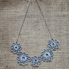 Sunbreak Tatted Symmetrical Flowered Necklace - supporting Burmese artists in Austin, TX - Hill Country Tribers