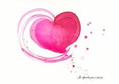 "Original watercolor painting for Valentine's Day ""Bubbly Heart"" by Karen Faulkner #karenfaulknerart #Etsy"