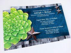 Rustic Denim Succulent Wedding Invitations PRINTED - 10 to 250 - Rustic Stars Country Wedding