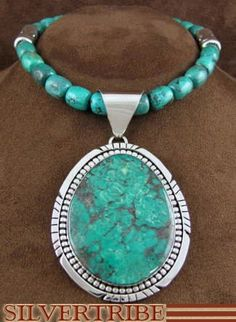 Native American Sterling Silver Turquoise Pendant And Bead Necklace Jewelry Set DS45053 ♥✤ | Keep the Glamour | BeStayBeautiful