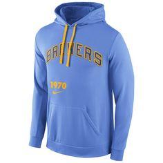 Men\u0027s Milwaukee Brewers Nike Light Blue Cooperstown Performance Pullover  Hoodie