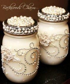 wedding mason jar candle, ivory white mason jar, pearl wedding decor ideas