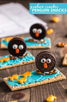 Check out this adorable graham cracker penguin snack treat. Super cute for winter or as part of your penguin activities unit or arctic animal activities for Kindergarten. It's easy an easy to make snack that requires no baking, which makes it perfect for a classroom treat or fun food Friday snack. Plus it's a cute, creative, and hands-on way to help students remember the parts of a penguin. Also included in the blog post is a FREE no prep Label the Penguin printable. Be sure to print it out and