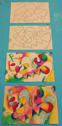 Kandinsky inspired art for kids. Step by step. Sharpie, oil pastel &…