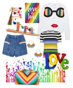 """""""Rainbows"""" by blumbeeno on Polyvore featuring Alice + Olivia, Mabu, Miguel Ases, Pantene, Rustic Arrow and Valentino"""