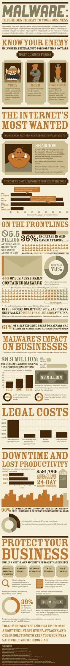 Malware - The Hidden Threat to Your Business - Minaccia informatica: il pericolo… Business Marketing, Internet Marketing, Security Tips, Online Security, Computer Security, Information Graphics, Interesting Information, Information Technology, Cloud Computing