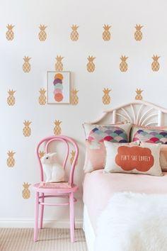 pineapple wall stencil // girl's bedroom