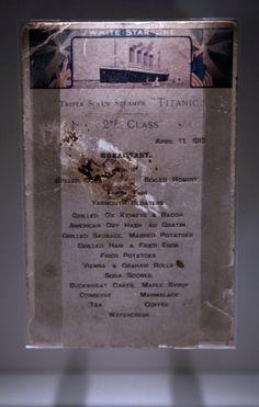 A Titanic 2nd class menu