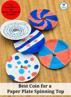 STEM Challenge- Best Coin for a Paper Plate Spinning Top - JDaniel4s Mom Stem Activities, Activities For Kids, Creative Activities, Writing Prompts For Kids, Kids Writing, Easy Crafts For Kids, Kid Crafts, Cool Science Experiments, Spinning Top