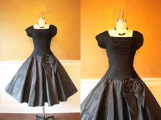 1950s Dress  Vintage 50s Dress  Black Ruched Silk by jumblelaya, $228.00