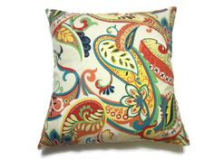 Decorative Pillow Cover Multicolored Paisley by LynnesThisandThat (Home & Living, Home Décor, Decorative Pillows, Decorative Pillow, Cover, Multicolored, Paisley Design, Same Fabric, Front and Back, Red, Orange, Turquoise, Navy Blue, Lime Green, Yellow, White)