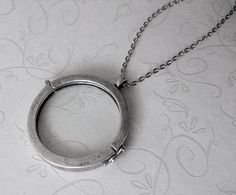 Round Glass Locket Necklace Antiqued Silver Extra Long