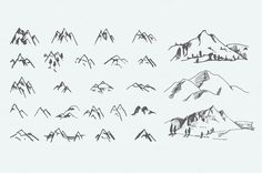 Pack of 12 mountains logo, 62 icons by AliceNoir on @creativemarket