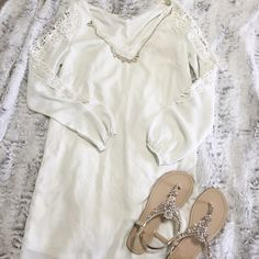 Cream Dress with Lace Really cute dress in great condition. Off white in color. Charlotte Russe Dresses