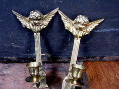 Angel Candle Sconce - Brass Candle Holder - Wall Sconce - Candle Sconce - Cherub Candle Sconce - Angel Candlestick - Cherub Candlestick by MissieMooVintageRoom on Etsy