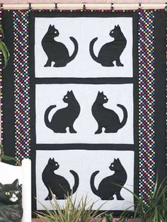 cat cross stitch patterns free | Create this free wall quilt pattern for the cat-lover in your family ...