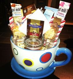 Coffee Chocolate and Goodies Gift Basket    Treat your guy in a special way, with this gift basket chock-full of goodies. With coffee singles, chocolate and all sorts of yummy treats!