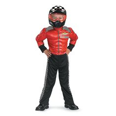Toddler Boys Turbo Racer Costume features a race car driver suit with a red muscle top, black bottoms, racing checkers and a plastic helmet. Cute Baby Halloween Costumes, Toddler Costumes, Halloween Kids, Halloween 2017, Onesie Costumes, Boy Costumes, Pirate Costumes, Costume Ideas, Racer Costume