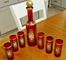 Vintage Venetian Glass Decanter & 6 Glasses Amethyst Bar Gold Party Wedding Set.