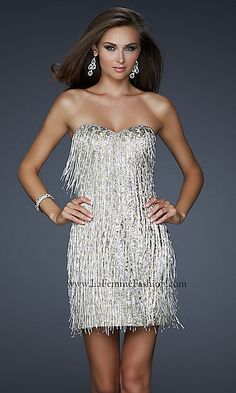 Modern Day Flapper Short Strapless Silver Dress at PromGirl.com ...