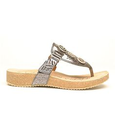 Look what I found on #zulily! Anthracite Metallic Tonga Leather Sandal #zulilyfinds