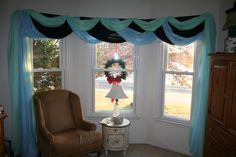 Bay window in bedroom, scarf drapes are so easy! Didn't even hem - just drape. Now I've got to redo the chair. Window Ideas, Bay Window, Periwinkle, Valance Curtains, Home Goods, New Homes, Windows, Living Room, Chair