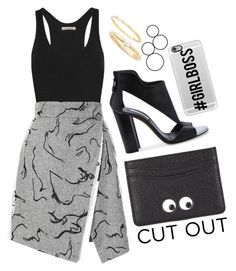 """Cut Out Skirt"" by cherieaustin ❤ liked on Polyvore featuring Étoile Isabel Marant, Casadei, Anya Hindmarch, Jules Smith, Casetify, women's clothing, women, female, woman and misses"