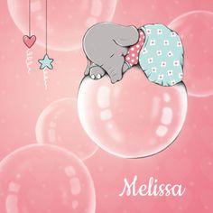 Dromerig geboortekaartje  voor een meisje met Fannie het olifantje, dromend op…