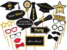 Personalized Graduation photo booth prop Class of 2017 Graduation Party Congrats. Personalized Graduation photo booth prop Class of 2017 Graduation Party Congrats grad graduation pr Graduation Desserts, Graduation Decorations, Graduation Party Decor, Graduation Photos, Graduation Ideas, High School Photos, Christmas Party Themes, Diy Party Supplies, Photo Booth Props