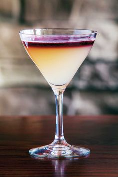 Cosmopolitan Delight: 1 1/2 oz. Phillipe Latourelle VS Cognac, 1/2 oz. Orange Curaçao, 3/4 oz. fresh lemon juice, 1/2 oz. orgeat syrup, 1/4 oz. fruity, dark red wine, perhaps a dolcetto, barbera, gamay, or syrah.  Combine all ingredients but the red wine in a mixing glass; shake with ice. Double strain to a chilled V-shaped cocktail glass; float the red wine on top.