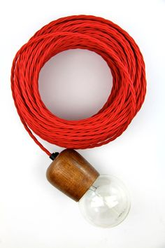 Red twistd fabric electrical cloth textile cord dble insulted 3 core wire lamp | eBay
