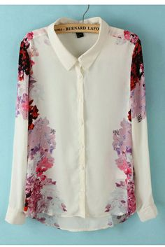 Positioning printing Chiffon Blouses_long sleeve blouses_Blouses&ChiffonShirt_CLOTHING_Voguec Shop