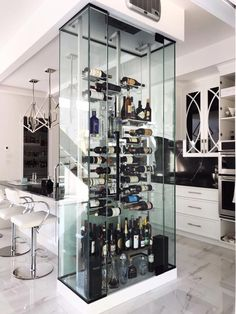 Modern acrylic wine cellar - see through effect Wine Cellar Modern, Glass Wine Cellar, Home Wine Cellars, Wine Cellar Design, Wine Shelves, Wine Storage, Small Apartment Design, Home Bar Designs, Wine Wall