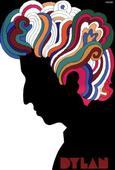Inspired by Islamic painting and by a silhouette cutout done by Marcel Duchamps, Glaser produced in 1966  this design originally as a poster insert for CBS Records. The image of singer Bob Dylan in shadow profile with a shock of kaleidoscope hair, simply yet dramatically symbolized the times, specifically Dylan's countercultural message.