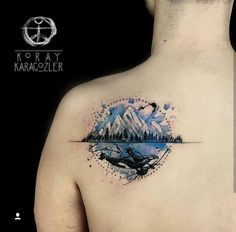 black, blue, whale, sky, mountains, sea, back, tatoo
