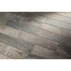 Style Selections IVETTA Black Slate Glazed Porcelain Indoor/Outdoor Floor Tile (Common: 6-in x 24-in; Actual: 5.91-in x 23.62-in) $1.86