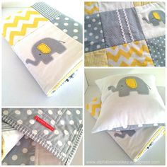 yellow and gray elephant quilt by alphabet monkey .www.alphabetmonkey.wordpress.com