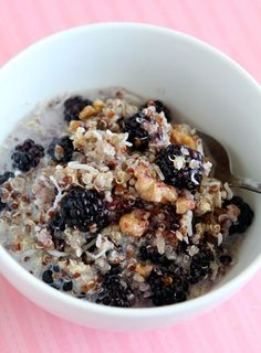News | Spiritual Gangster Combine 1 cup [vanilla] almond milk 3/4 cup original quinoa 1/4 cup red quinoa 1 cup fresh berries (blackberries, blueberries, raspberries) 1 teaspoon ground cinnamon 1/3 cup chopped walnuts, toasted 3 teaspoons agave nectar or stevia 2-3 tablespoons shredded coconut