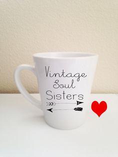 vintage soul sisters small latte coffee mug tea 12 oz cup and FREE digital download. (15.00 USD) by soulserenade