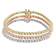Stackable Round Diamond Tennis Bracelet in 10K Yellow Rose White Gold 4.5ct