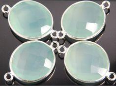 1 piece aqua chalcedony gemstone bezel connector by JWbeads, $5.60