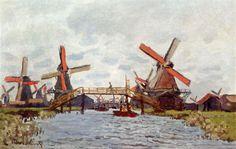 Windmills+near+Zaandam,+1871+-+Claude+Monet