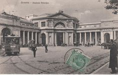"""C'ERA UNA VOLTA GENOVA -  """"Acquaverde"""" square with the front side of the railway station """"Principe"""" , built 1854. The stamp on the post card is dated 1924."""