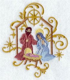 Machine Embroidery Designs at Embroidery Library! - Nativity   Want to downsize this and add to ornaments.