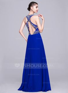 A-Line/Princess Scoop Neck Floor-Length Chiffon Evening Dress With Beading Sequins (017069153) - JJsHouse