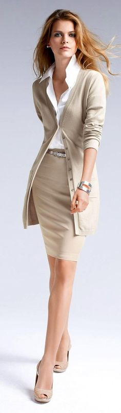 "A white blouse and neutral pencil skirt should be a staple in every working woman's closet. I like to pair the blouse and skirt with a longer cardigan for when it's getting cooler outside or when I am having one of my ""feeling bloated"" days"