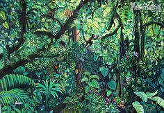 Product:Naive Painting. Title:Charco Verde Natural Reserve. Artist:Abel Vargas. Tropical Art, Tropical Paintings, Forest Painting, Jungle Theme, Naive Art, Detail Art, Environmental Art, Ecology, Landscape Art