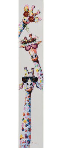 Malerei Slim Funny Giraffes Acrylic Painting Print on Canvas Acrylic Painting Canvas, Canvas Artwork, Painting Prints, Canvas Prints, Art Prints, Acrylic Painting Animals, Acrylic Paintings, Funny Paintings, Unique Paintings