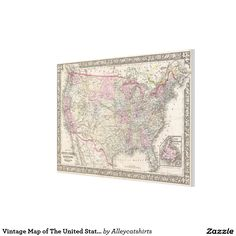 Vintage Map of The United States (1866) Canvas Print