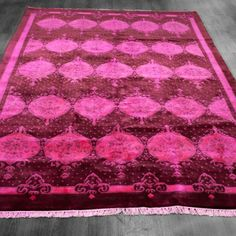 6x9 Over-Dyed Wine & Hot Pink Persian Design Rug woh-2634